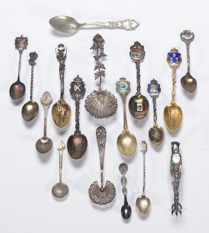 Group of silver foreign souvenir and novelty flatware