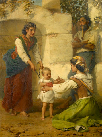 Frank William Warwick Topham (British, 1838-1924) Toddler's first steps 38 x 28 1/2in (96.52 x 73.39cm)