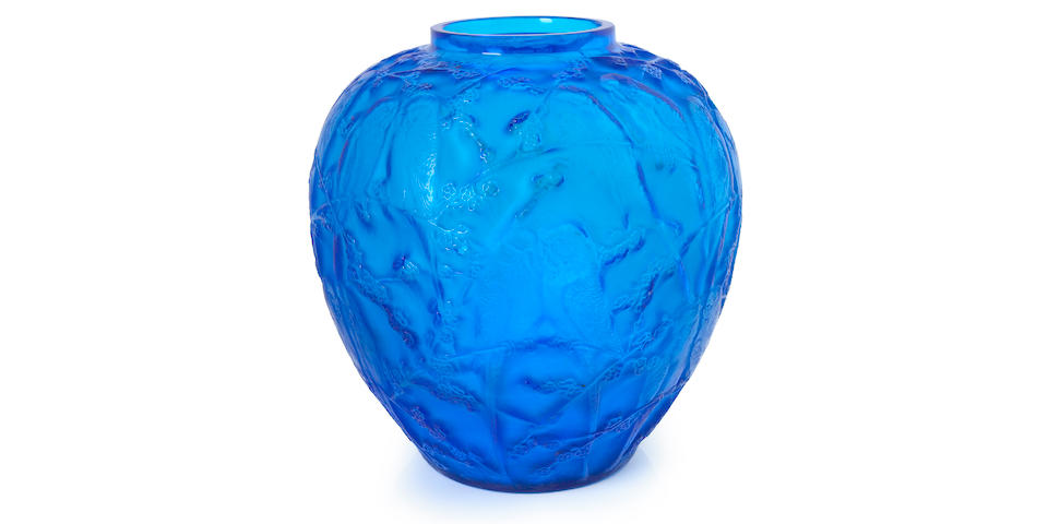 Lalique molded electric blue glass vase: Perruches Marchilhac 876, model introduced 1919