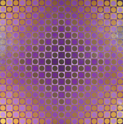 Victor Vasarely (Hungarian, 1906-1997); Alom. Violet/Yellow;