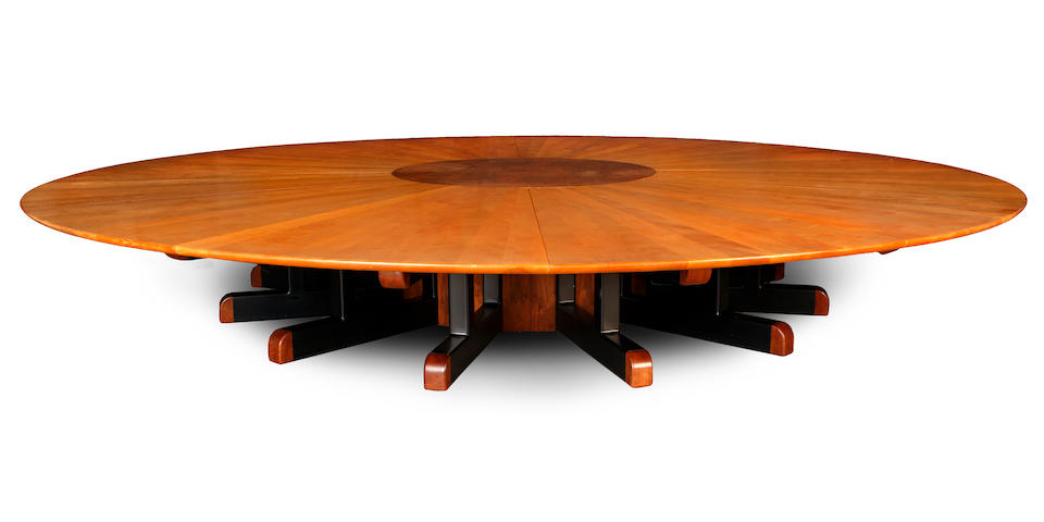 A monumental Sam Maloof fiddle back maple, burled elm and black walnut circular boardroom table circa 1990