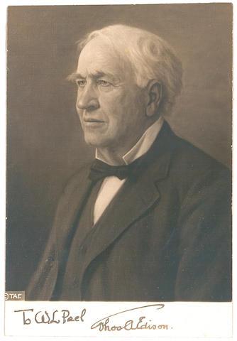 EDISON, THOMAS ALVA. 1847-1931.