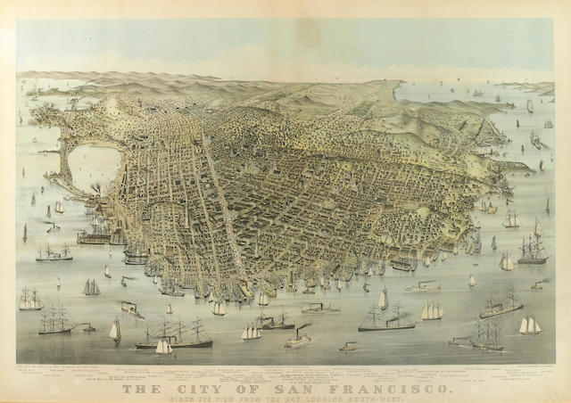 Currier & Ives  (Publishers) (American); City of San Francisco, Bird's Eye View from the Bay looking Southwest;