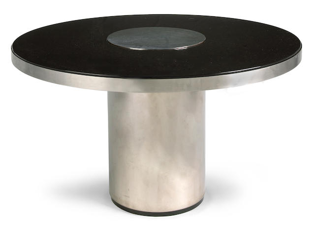 A Willy Rizzo stainless steel and black glass dining table 1970s