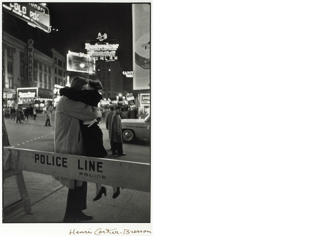 Henri Cartier-Bresson (French, 1908-2004); Couple Embracing, Police Line;