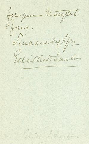 WHARTON, EDITH. 1862-1937.