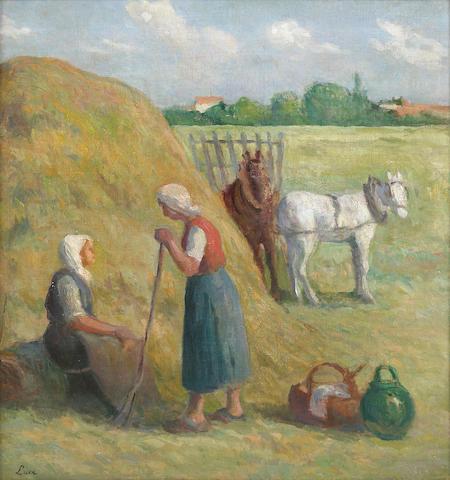 (n/a) Maximilien Luce (French, 1858-1941) Rolleboise, la fenaison 22 13/16 x 21 1/4in (58 x 54cm)