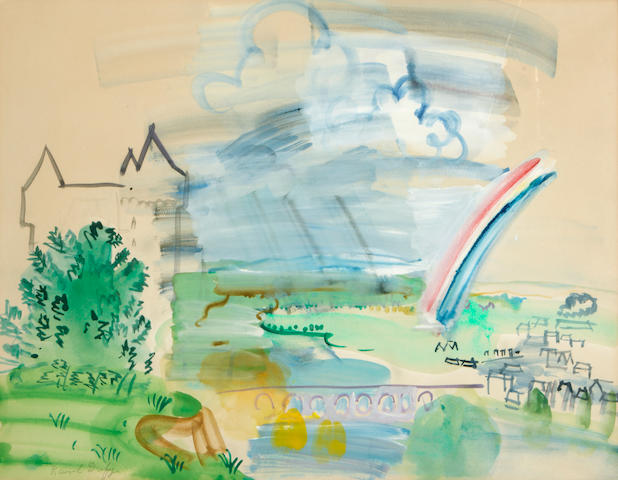 Raoul Dufy (French, 1877-1953) Untitled (Landscape with rainbow) 19 3/4 x 25 3/4in (50.2 x 65.4cm)