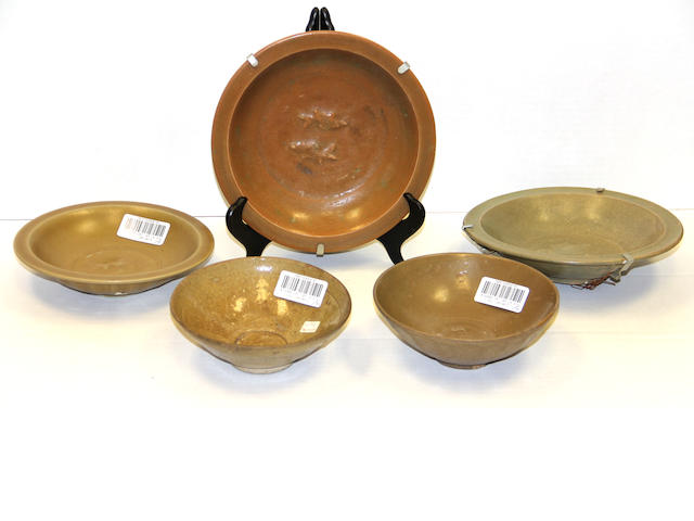 A group of five Chinese glazed stoneware bowls and dishes Song and Yuan Dynasties