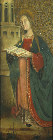Spanish School, 16th Century Saint Barbara and the tower 39 3/4 x 15 1/2in (101 x 39.4cm)