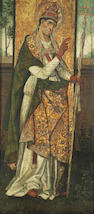 Spanish School, 16th Century A standing saint, possibly St. Gregory the Great 42 1/2 x 20 1/2in (108 x 52cm)