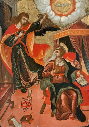 Dalmatian School, 15th Century The Annunciation 39 x 28in (99.0 x 71.1cm) unframed