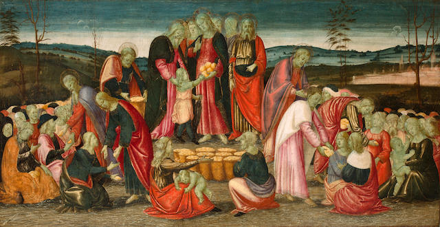 Arcangelo di Jacopo del Sellaio (Florentine, 1478-circa 1530) The Miracle of the Loaves and Fishes 24 1/2 x 47 1/2in (62.2 x 120.6cm) unframed