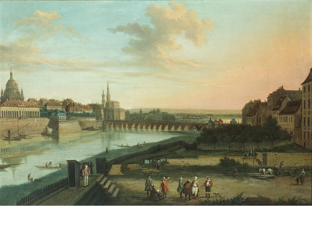 Follower of Bernardo Bellotto (Italian, 1721-1780) Dresden from the right bank of the Elbe below the Augustus Bridge; Dresden from the right bank of the Elbe above the Augustus Bridge (a pair) each 19 3/4 x 30in (50.1 x 76.2cm)