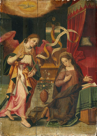 Circle of Marten de Vos (Flemish, 1532-1603) The Annunciation 16 3/4 x 11 3/4in (42.5 x 29.8cm) unframed
