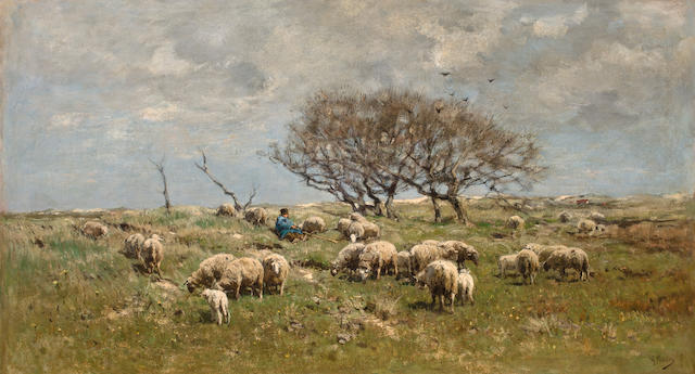 Anton Mauve (Dutch, 1838-1888) Shepherd with sheep in field 22 1/2 x 40 1/4in (57.2 x 102.2cm)