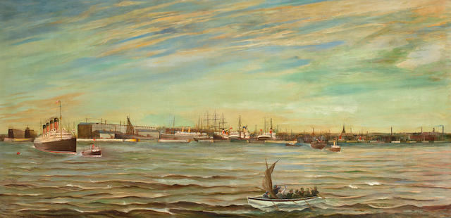 English School, early 20th Century On the river with other shipping in the distance 34 x 70in