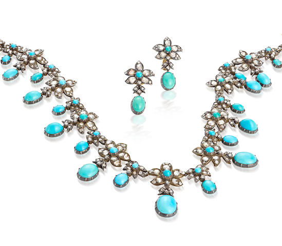 An antique turquoise and diamond necklace and earclips