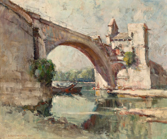Dawson Dawson-Watson (British/American, 1864-1939) Bridge at Avignon 18 x 21 3/4in