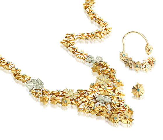 An eighteen karat gold, diamond and colored diamond necklace, Sigal Shohat