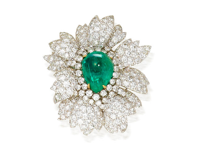 An emerald and diamond brooch, David Webb