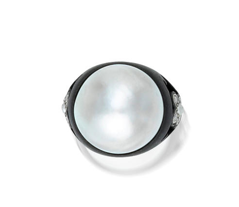 A mabé pearl, diamond and blackened steel ring, Marsh & Co.