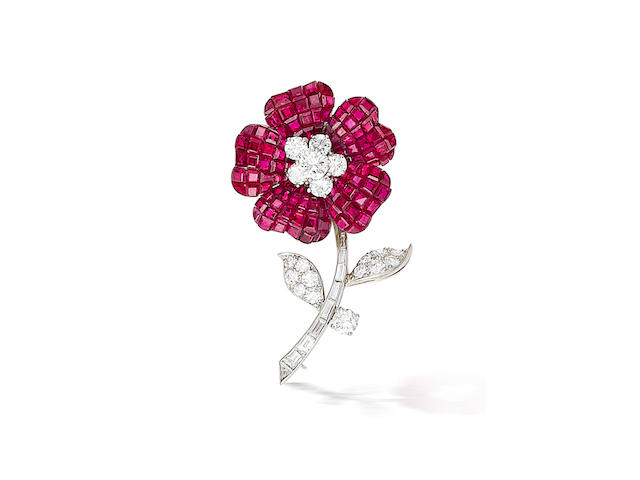 A ruby and diamond brooch, Van Cleef & Arpels,