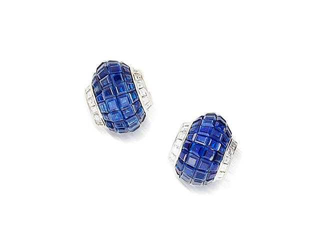 A pair of sapphire and diamond earclips, Van Cleef & Arpels,