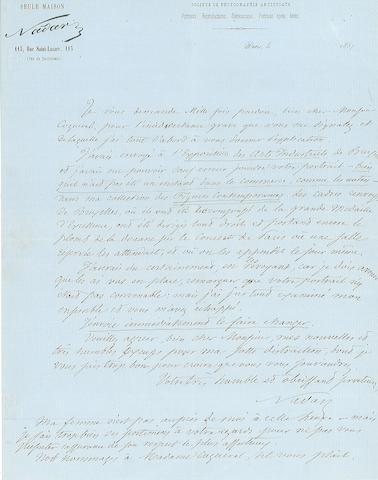 NADAR, FELIX (FELIX TOURNACHON GASPARD). 1820-1910.