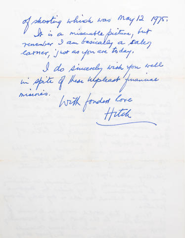 Alfred Hitchcock letter