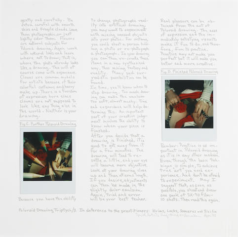 Robert Heinecken (American, 1931-2006); Polaroid Drawing Triptych (1-3) In Deference to the Practitioners: Krims, Locks, Samaras, and Sicilia;