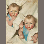 Ellen Bernard Thompson Pyle (American, 1876-1936) Twins 24 x 18in