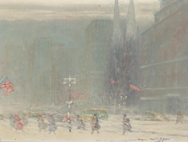 (n/a) Johann Berthelsen (American, 1883-1972) St. Patrick's Cathedral, 5th Avenue, New York 12 x 16in