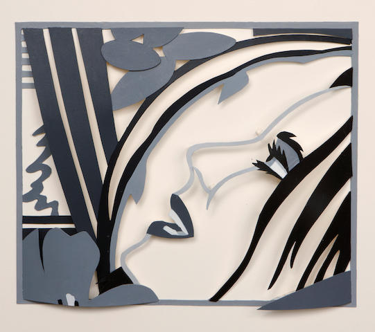 Tom Wesselmann (American, 1931-2004) Maquette for Bedroom Face with Tulip, 1987 image 8 1/2 x 10in (19 x 25.5cm); sheet 14 x 16in (35.5 x 40.7cm)