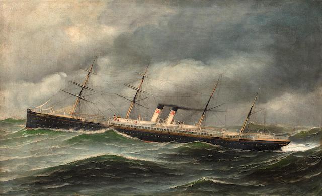 Antonio Nicolo Gasparo  Jacobsen (American, 1850-1921) The ship S.S. Westernland at sea 22 x 36 in. (55.8 x 91.4 cm.)