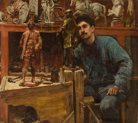 Charles Frederick Ulrich (American, 1858-1908) Sculptor in Studio 13 3/4 x 15 1/4in