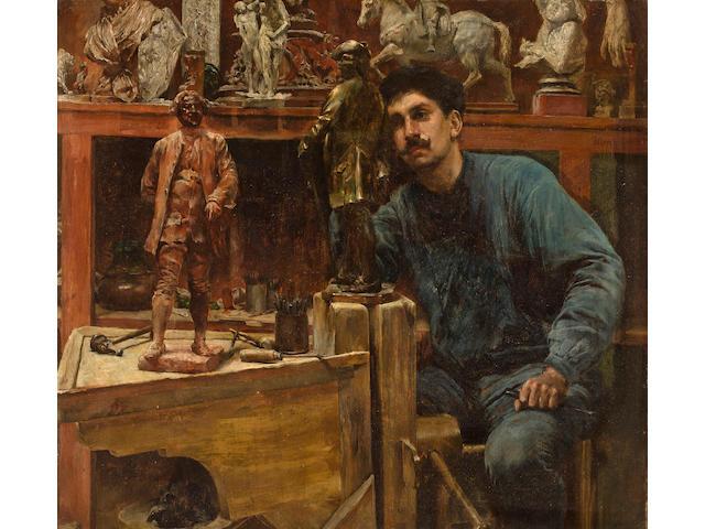 (n/a) Charles Frederick Ulrich (American, 1858-1908) Sculptor in Studio 13 3/4 x 15 1/4in