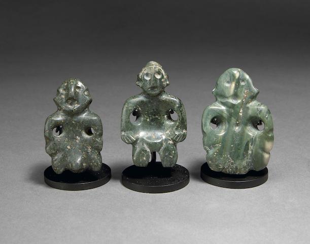 Three Colima Stone Figures,<br>Late Preclassic, ca. 300 - 100 B.C.