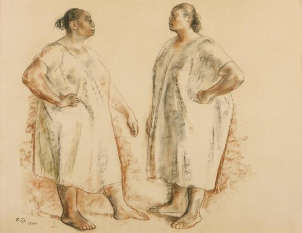 (n/a) Francisco Zúñiga (Mexican, 1912-1998) Two Standing Women, 1964 19 11/16 x 25 9/16in (50 x 65cm)