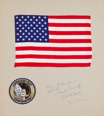 GORDON'S LARGE US FLAG FROM APOLLO 12.