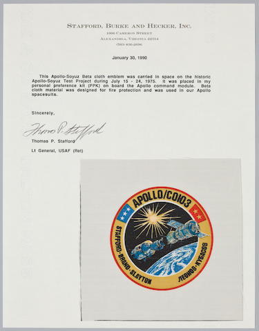 STAFFORD'S BETA CLOTH EMBLEM CARRIED ON APOLLO-SOYUZ.