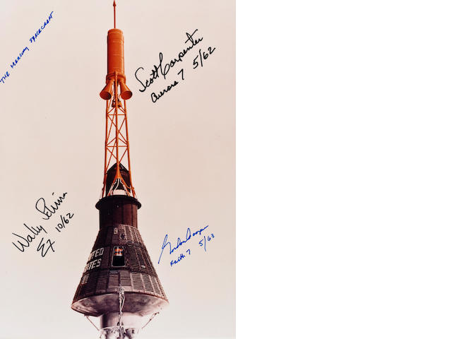 THE MERCURY SPACECRAFT AND MISSION DATES.