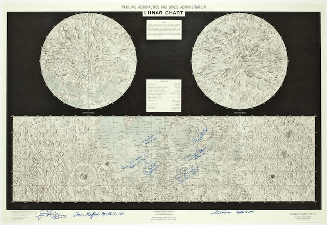 LUNAR CHART—SIGNED BY A MEMBER OF EVERY LUNAR FLIGHT CREW.