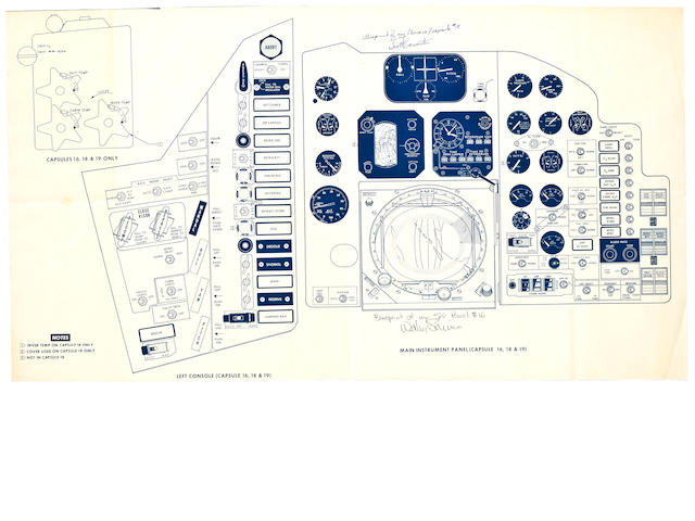 AURORA 7 AND SIGMA 7 MAIN INSRUMENT PANEL BLUEPRINT—SIGNED BY THEIR PILOTS.
