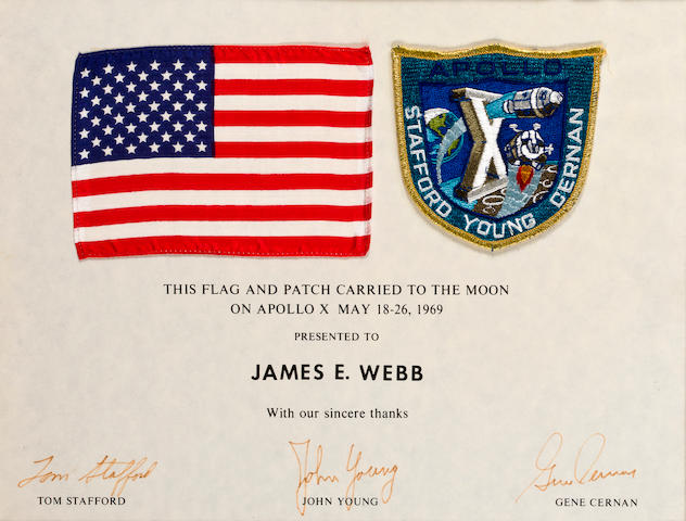 US FLAG AND CREW EMBLEM FLOWN ON APOLLO 10.