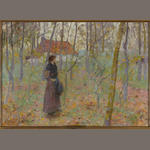 Louis Paul Dessar (American, 1867-1952) Lady in Wooded Landscape 13 1/4 x 18 1/4in
