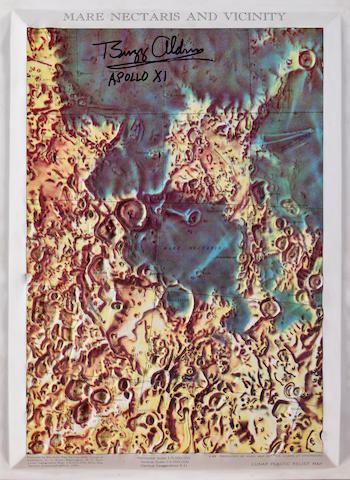 ALDRIN-SIGNED LUNAR RELIEF MAP.