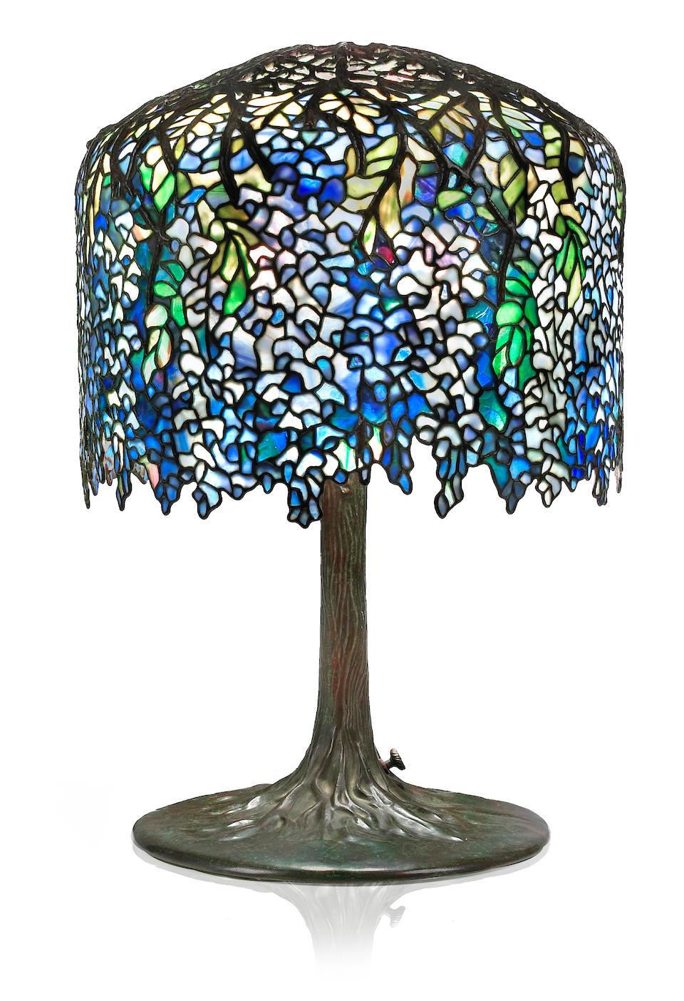 A fine Tiffany Studios Favrile glass and bronze Wisteria table lamp 1899-1918