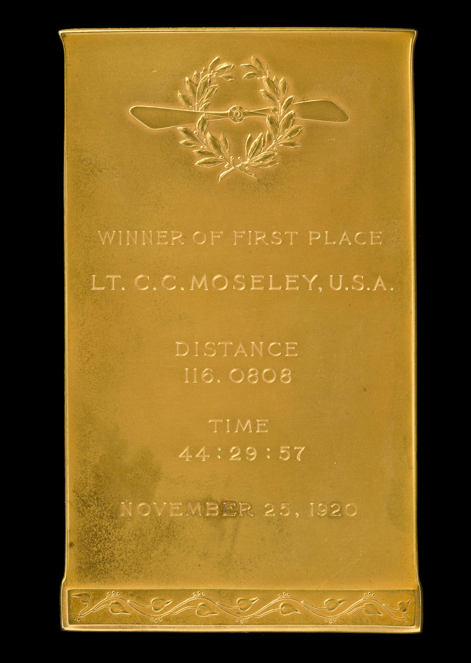 GOLD TROPHY FROM THE FIRST PULITZER AIR RACE.
