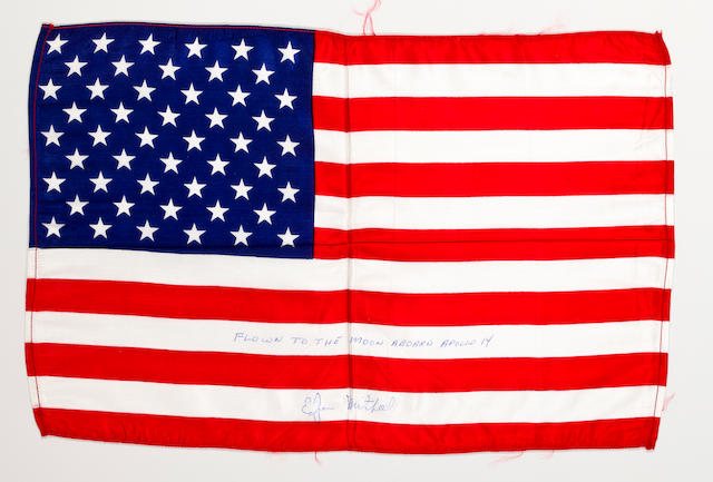 EDGAR MITCHELL'S LARGE US FLAG FROM APOLLO 14.